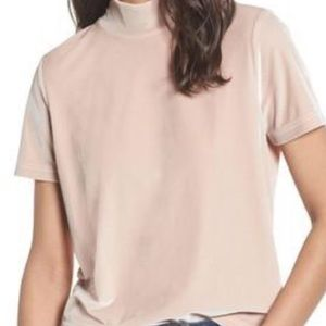Madewell Pale Pink Velvet Mock Neck Top Size S